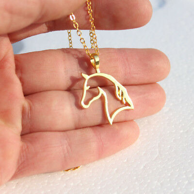 NEW Horse Head Hollow Pendant Charm Gold Silver Rose Necklace Chain Jewelry Gift