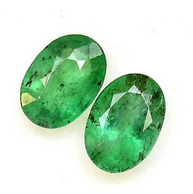 1.28 Cts Certified Natural Emerald Oval Cut Pair 7x5 mm Zambian Loose Gemstones