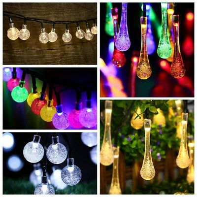 20/30/50 Led Solar Fairy String Lights Crystal Ball Garden Party Xmas Outdoor