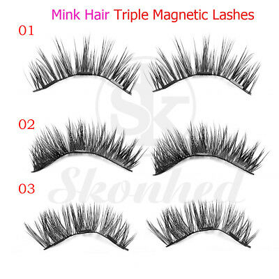 1 Pair SKONHED 3D Magnetic False Eyelashes Reusable Mink Hair Glue-free Lashes