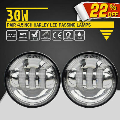 "4-1/2"" 4.5Inch Chrome LED Fog Lights Harley Davidson CREE Passing Lamps Driving"