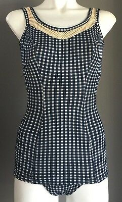 Vintage Bombshell 1950's One Piece Swimsuit Blue & White Gingham Size 34 (AU6)
