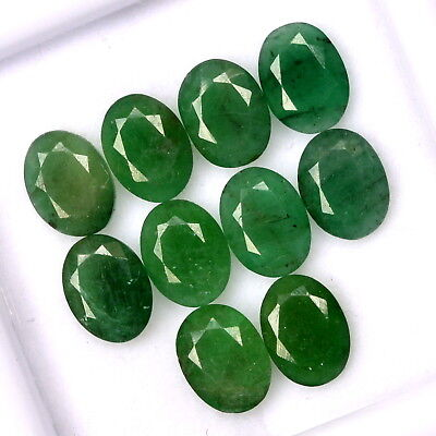 11.99 Cts Certified Natural Emerald Oval Cut 8x6 mm Lot 10 Pcs Loose Gemstones