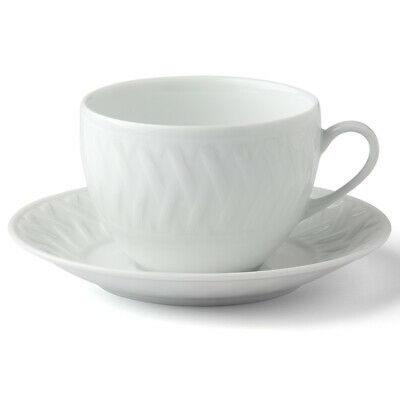 NEW Deshoulieres Louisiane Limoges Breakfast Cup & Scr White