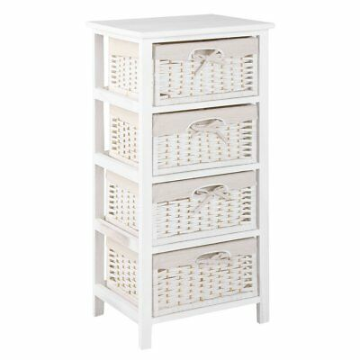 4 Drawer Natural Wicker Basket Storage Unit Bedroom Bathroom White Shabby Chic