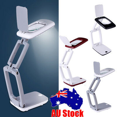 Foldable Lens Lighted Lamp Top Desk 3X Magnifier Magnifying Glass W/ 9 LED Light