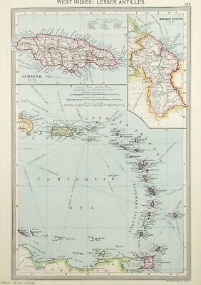 Map of West Indies, Jamaica & British Guyana. 1905.CARIBBEAN. BARBADOS  Antique