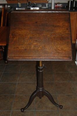 Antique Washburn Shops Industrial Drafting Table With Cast Iron Legs, Pedestal