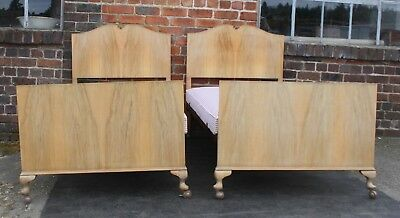 Pair of Vintage twin standard single beds 1950s blonde walnut for Maple and Co