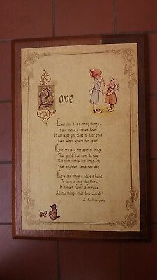 Holly Hobbie Love Wooden Plaque John Sands 1973 American Greetings 1973