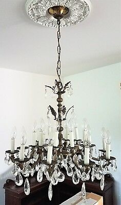 """Vtg Large Palm Beach French Provincial Brass & Crystal 20 Light Chandelier 24"""""""