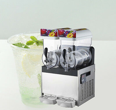 2-Tank Commercial Frozen Drink Slush Machine Smoothie Slushy Maker Machine 110V