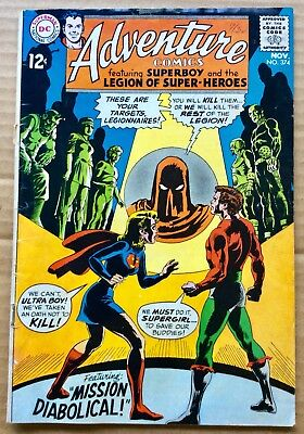 ADVENTURE COMICS #374 (1968) DC Silver Age Superboy, Legion of Super-Heroes G/VG