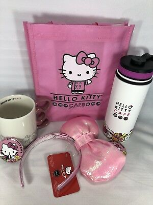 Hello Kitty Cafe Set w Bag! Water Bottle 18oz Mug And Chubby Bunny Bow Truck