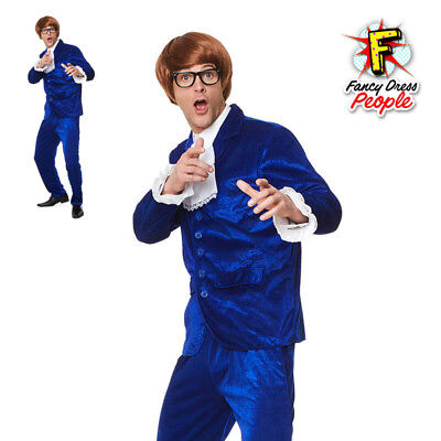 acc294f9bf9a 60s Gigolo Costume Groovy Powers Mens Fancy Dress Blue Austin Suit Outfit  New