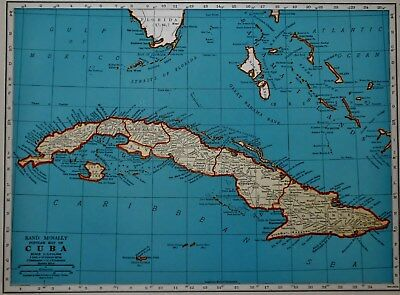 Vintage 1940 World War WW II Era Atlas Map Cuba Guantanamo Bay West Indies L@@K!
