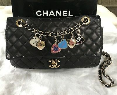 4eed7cc4e852 Authentic Chanel Valentine Special Edition Flap double Chain Black Bag