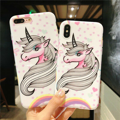 Phone case for iphone XS MAX 6 6s 7 8 plus X Unicorn Pattern Soft TPU Shockproof