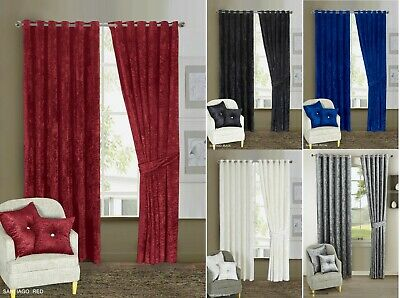 Curtains Pair Thick Crushed Velvet Eyelet Ring Top Ready Made Blackout Lined