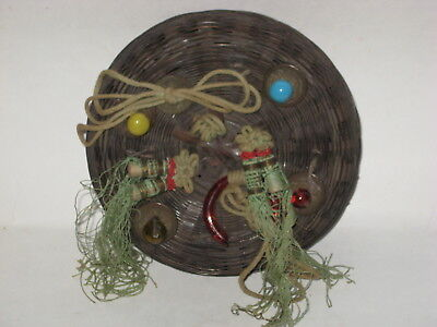 Vintage Antique Chinese Wicker Sewing Basket w/ Beads