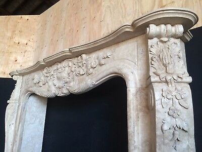 TRAVERTINE FRENCH Fireplace Mantel – LARGE LARGE  - Hand Carved Stone Mantle