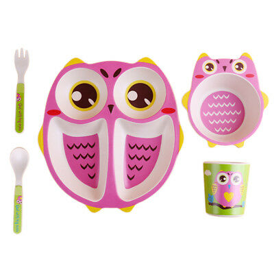 Dinner Ware Set Bamboo Bowl,Children Plate,Cup,Fork & Spoon, BPA Free Pink