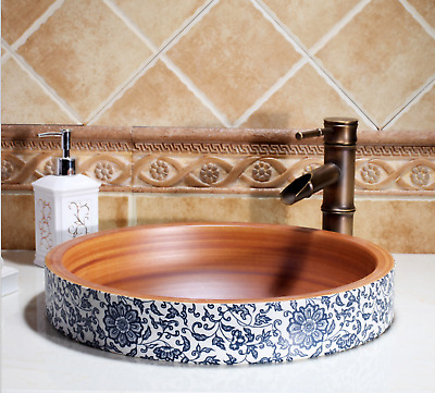 Vintage Bathroom Cloakroom Ceramic Counter Top Wash Basin Sink Vessel Bowl