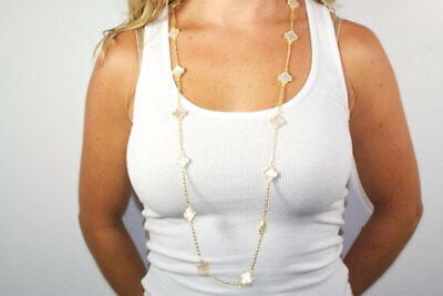 Hand Crafted 16 Mother of Pearl Clover Necklace.