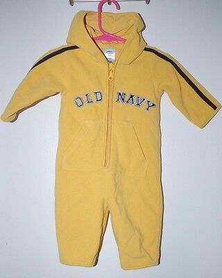 86d7b7ebe Boys 3-6 Months Old Navy Fleece One Piece Long Sleeve Romper Outfit Yellow/