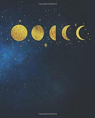 Bullet Journal: 8 x 10 Gold Moon Phases Galaxy Bullet Journal - Blank Notebook,