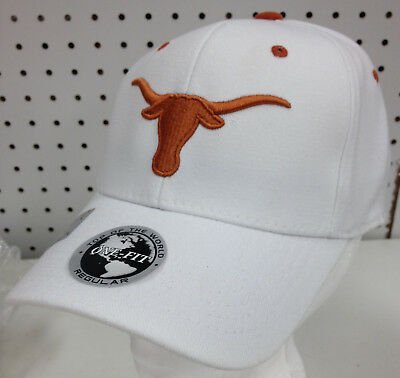 2b5f8354 NEW WHITE LICENSED Texas Longhorns Embroidered Hat Ncaa One Fit Cap ...