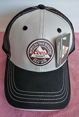 New Coors Light Trucker Mesh Baseball Hat Cap Born in the Rockies black/gray/red