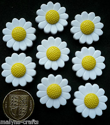 LARGE WHITE DAISIES 8 Novelty Craft Buttons Daisy Flowers Gardens Plants Nature