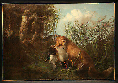Animal Hunting  Antique 19th Century Painting Fox & Duck in Landscape