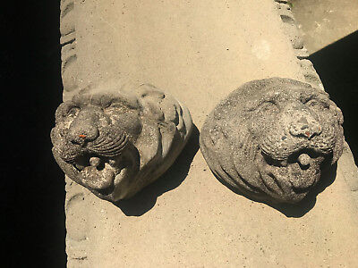 2 Vintage WEATHERED Concrete Garden Wall Hanging Lion Head Face Mask 25 years+