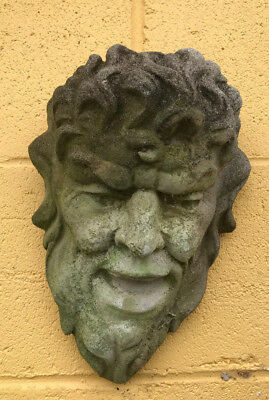 Vintage WEATHERED Concrete Garden Wall Hanging Male Face Mask Over 25 years old