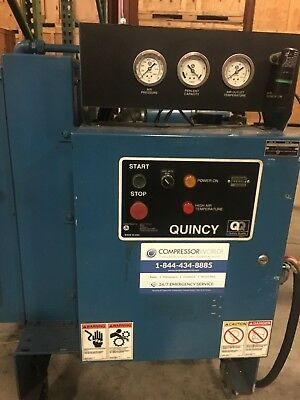 30 HP Rotary Screw Air Quincy Compressor 125 CFM 208 Volt 3 Phase QGS 30 (used)