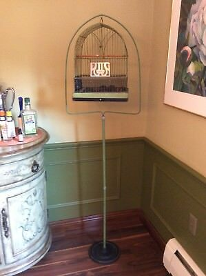 """Antique Vintage Hendryx Green Bird Cage With Stand 65"""" Tall"""