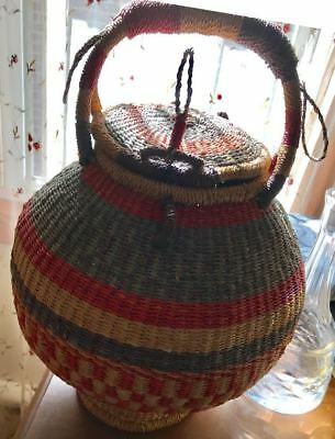 African Lidded Basket Woven With Natural Fibers And Dyes Basket