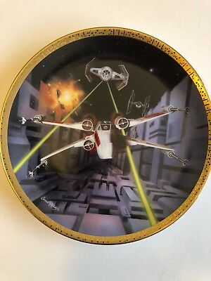 Star Wars RED 5 X-WING FIGHTER HAMILTON Plate in Box Certificate of Authenticity