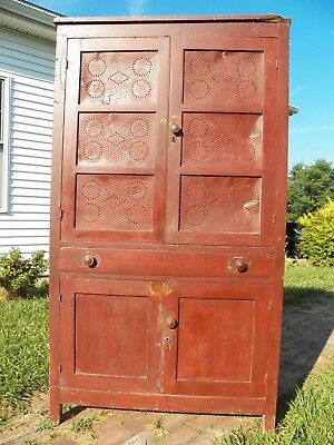 Antique Pie Safe with 12 Punched Tins cupboard Cabinet Rustic painted
