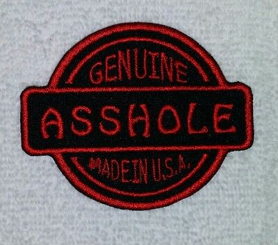 Genuine A$$Hole Made In Usa Red Embroidered Motorcycle Vest Patch Iron On