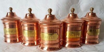 French vintage set of 5 copper kitchen storage cannisters with brass finals.
