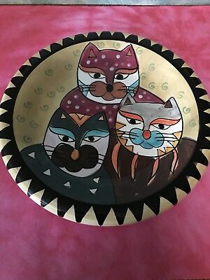 "Milson And Louis Cat  Plate Hand Painted 3 Cats Colorful 8"" Cat Decor Collection"