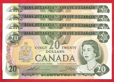 1979 $20 Bank of Canada Thiessen-Crow 4 Consecutive - Lightly Circulated