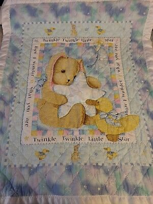 sleepy time bunny hand sewn baby quilt