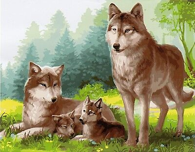 WOLF FAMILY PAINTING PAINT BY NUMBERS CANVAS KIT 20 x 16 ins FRAMELESS, ACRYLIC
