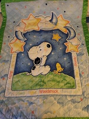 snoopy hand sewn baby quilt