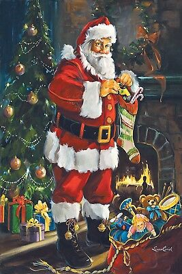 №112.8 Postcard modern new Santa Claus hides gifts for children Christmas