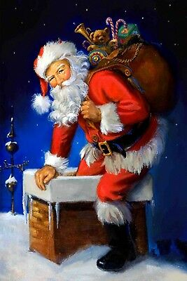 №112.10 Postcard modern new Santa Claus came to give gifts New Year